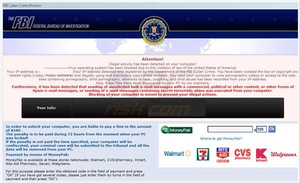 FBI MoneyPak virus - computer locked scam