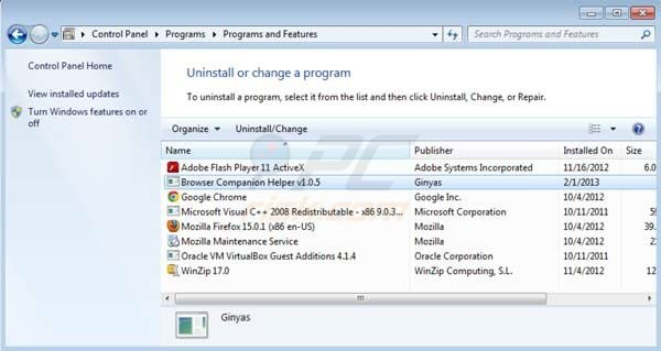 Ginyas Browser Companion uninstall