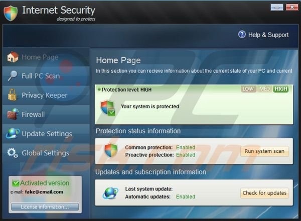 Internet Security 2014 after entering registration key