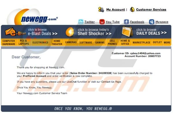 newegg spam campaign leading to malware