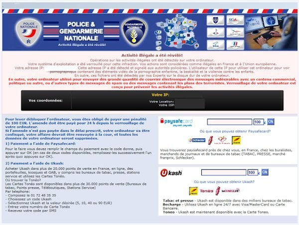 Police and Genarmerie Nationale Ukash and PaySafeCard virus