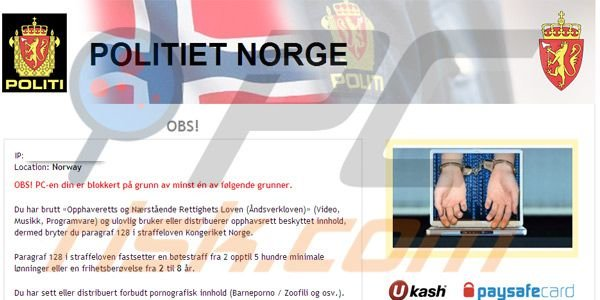 Politiet Norge ransomware virus