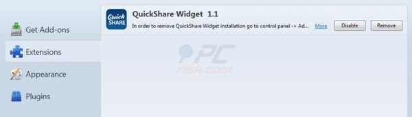 QuickShare removal from Mozilla FireFox