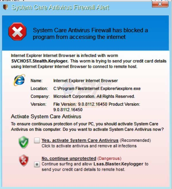 System Care Antivirus fake firewall alert