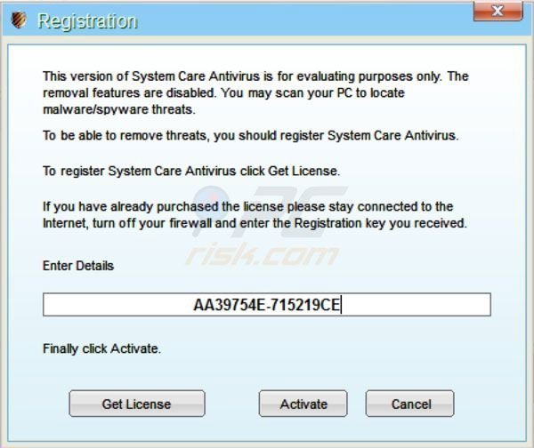 System Care Antivirus removal using a retreived registration key step 2