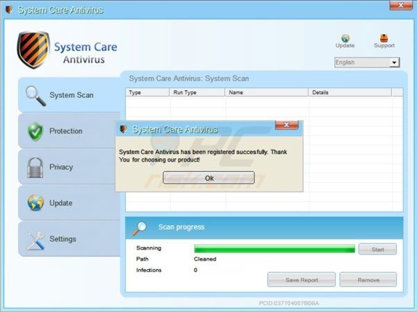 System Care Antivirus successful registration