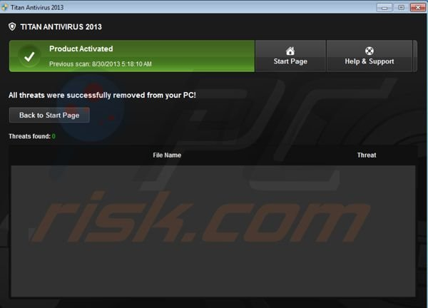 Titan Antivirus 2013 after registration