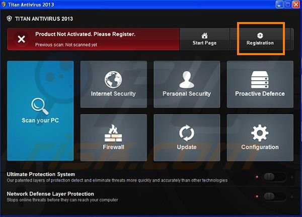 Titan Antivirus 2013 registration step 1