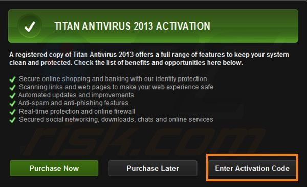 Titan Antivirus 2013 registration step 2