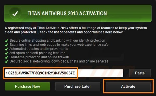 Titan Antivirus 2013 registration step 3