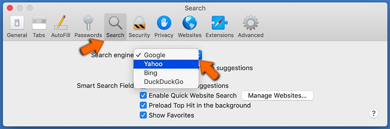 Changing the default search engine in Safari