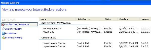 my way search toolbar uninstall from internet explorer