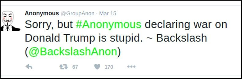 anonymous declines declaring war on Donald Trump