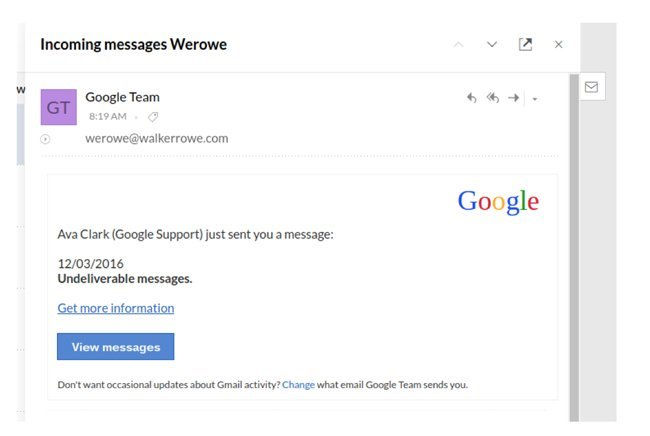 fake google team email