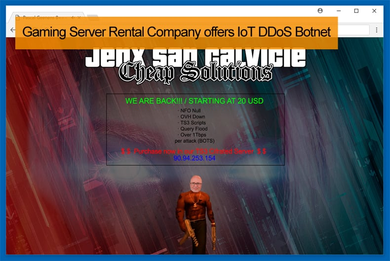 Gaming Server Rental Company offers IoT DDoS Botnet