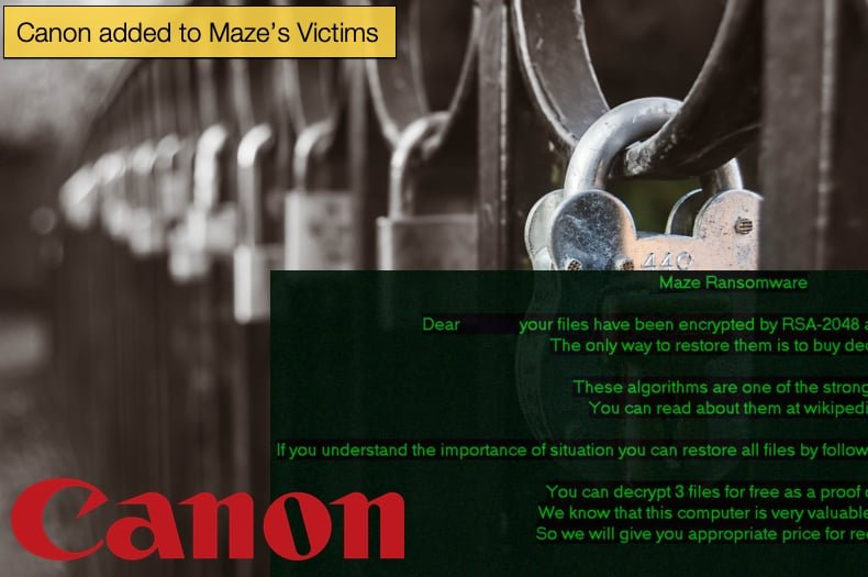 maze ransomware attacks canon