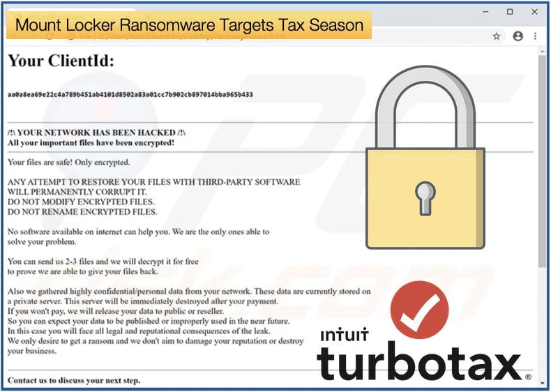 mount locker ransomware target turbotax users