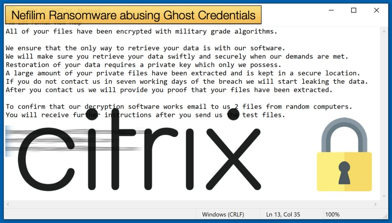 nefilim ransomware exploiting ghost credentials
