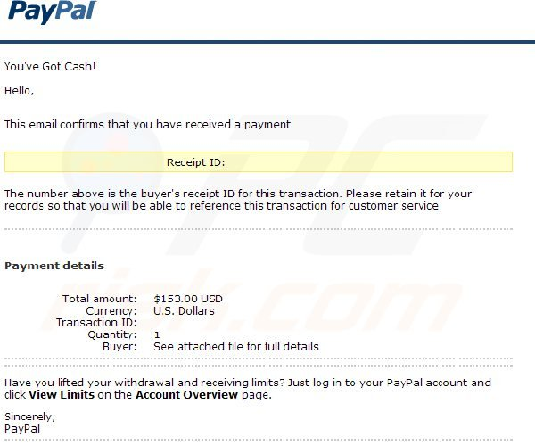 PayPal Payment Received notification email leads to Zeus malware