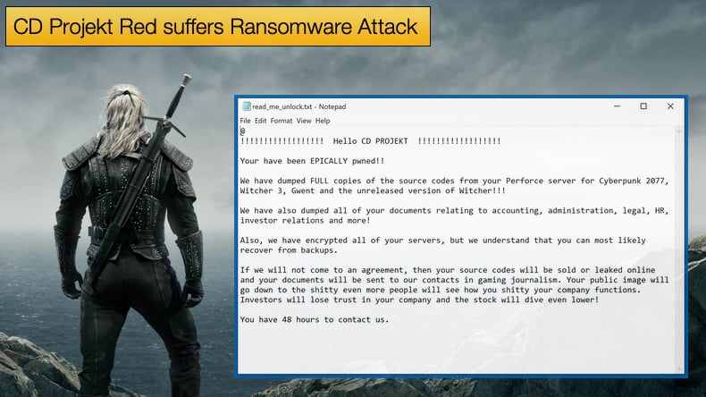 cd projekt red suffered a ransomware attack