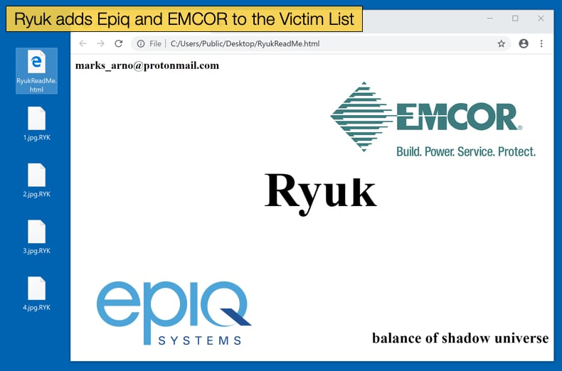 ryuk adds epiq and emcor companies to it's vicim list