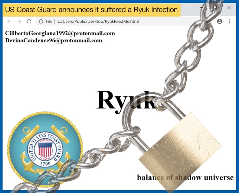us coast guard suffered ryuk ransomware infection