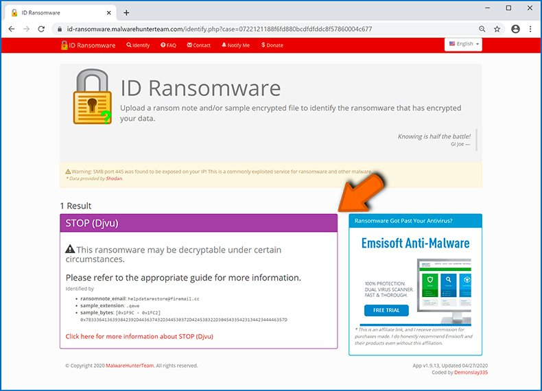 Identify ransomware-type infection (step 4)