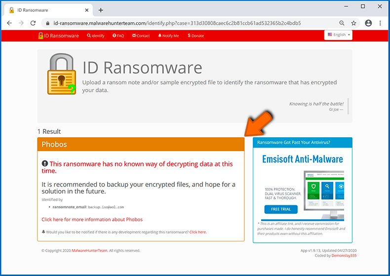 Identify ransomware-type infection (step 5)