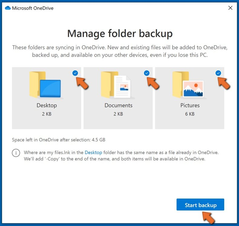 Select folders to backup and click Start backup