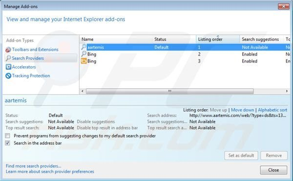 Removing Aartemis from Internet Explorer default search engine settings