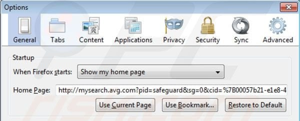 AVG Search removal from Mozilla Firefox homepage