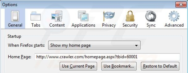 Removing crawler.com from Mozilla Firefox homepage