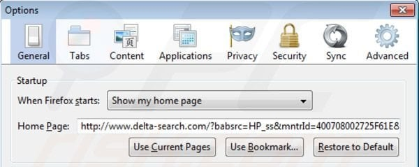 Delta Search homepage in Mozilla Firefox