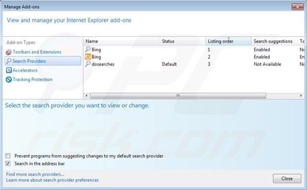 Dosearches removal from Intenret Explorer default search engine settings