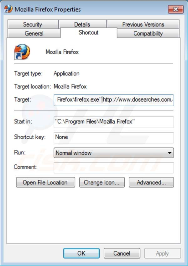 Dosearches removal from Mozilla Firefox shortcut target