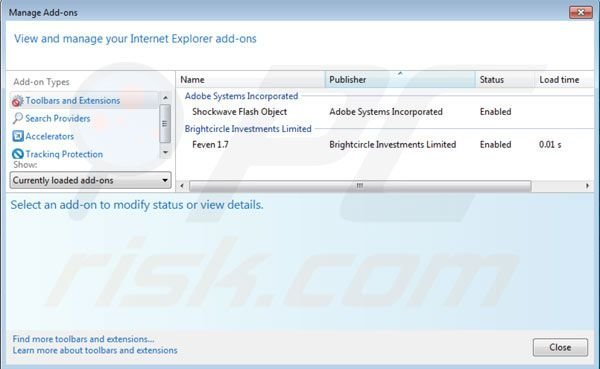 Removing Feven ads from Internet Explorer step 2