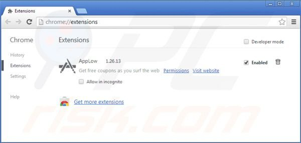Removing Greatsaver from Google Chrome extensions step 2