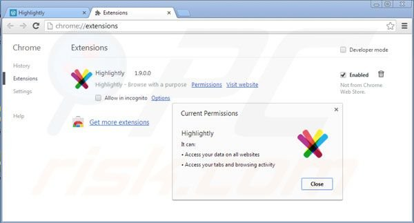 Removing Highlightly from Google Chrome extensions step 2