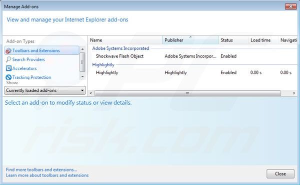 Removing Highlightly from Internet Explorer extensions step 2