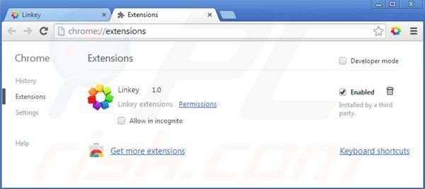 Removing linkey from Google Chrome extensions step 2