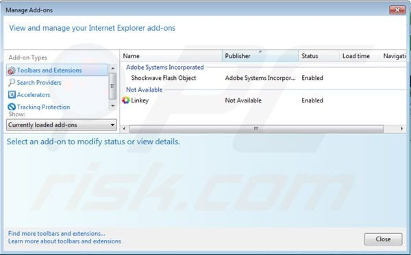 Removing Linkey from Internet Explorer extensions step 2