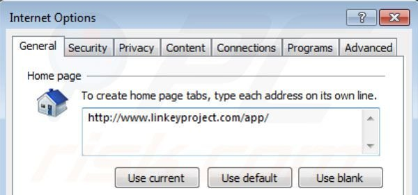Removing linkey project from Internet Explorer homepage