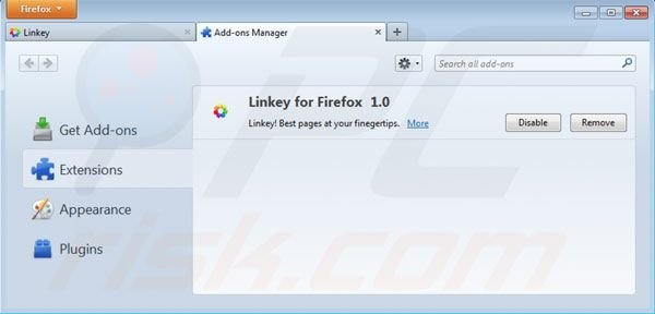 Removing linkey from Mozilla Firefox extensions step 2