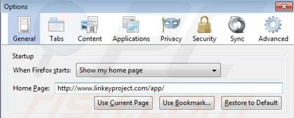 Removing linkey project from Mozilla Firefox homepage