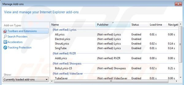 Lyrics virus removal from Internet Explorer step 2