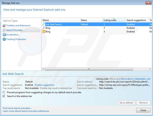 Mindspark toolbar removal from Intenret Explorer default search engine settings