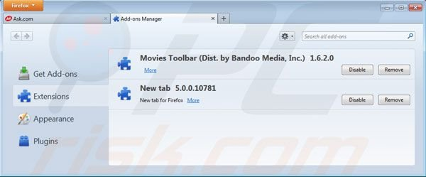 Removing Movies toolbar from Mozilla Firefox extensions
