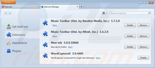 Removing Music toolbar from Mozilla Firefox extensions