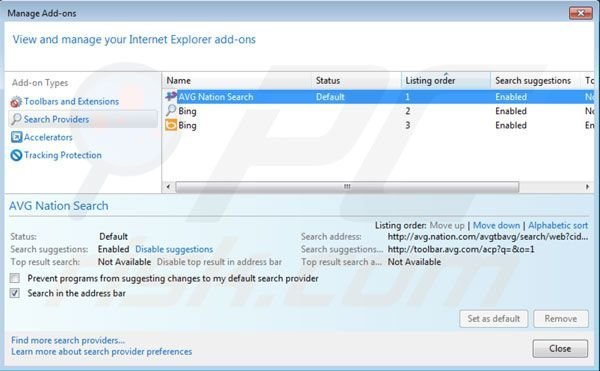Nation search default search engine in Internet Explorer