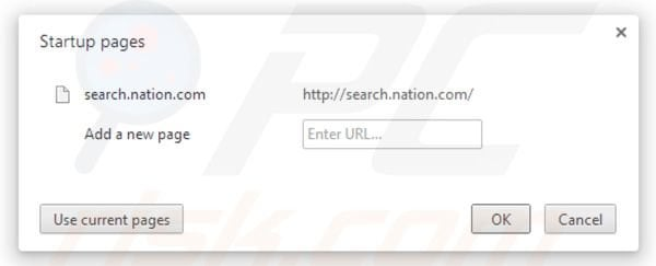 Nation search homepage in Google Chrome